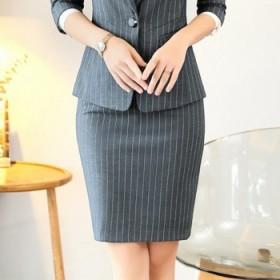 西装裙灰色条纹半身裙