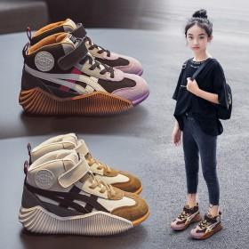 女童鞋子2021秋冬新款休闲中大童儿童真皮运动高帮