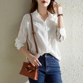 100%纯棉白色长袖衬衫女2021春秋新款百搭宽松