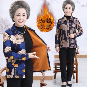 中老年女装加绒保暖开衫上衣