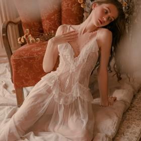 性感睡衣女长款大码睡衣网纱透视极度诱惑调情睡裙外袍