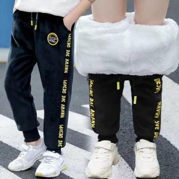 男童加绒裤子2021秋冬款儿童双面绒加厚棉裤中大童