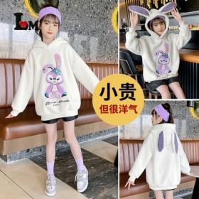 女童星戴露毛毛衣2021新款中大童时髦洋气学生韩版
