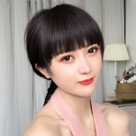 齐刘海假发女一刀齐平刘海自然无痕空气假刘海圆脸隐形
