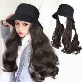 渔夫帽假发一体时尚女长卷发大波浪假发帽子网红韩版潮