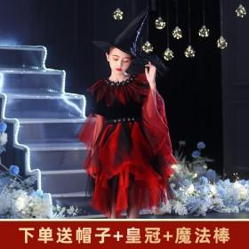万圣节儿童服装女童巫婆连衣裙化妆舞会礼服公主裙巫婆