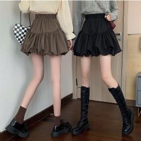 2021秋季新款设计感强女款蓬松摆裙高腰随性百搭显