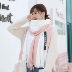 围巾女冬韩版情侣长款针织毛线围巾男加厚保暖拼色围脖
