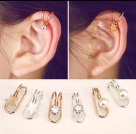 韩版创意U型耳夹  气质学生珍珠耳钉  不过敏百搭