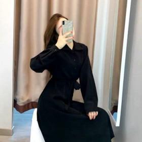 秋季新款法式复古高级感单排扣翻领高腰长袖a字裙衬衫