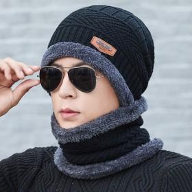 毛线帽围脖两件套装 加绒加厚冬季保暖防风 男女通用