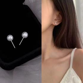 2021年新款潮珍珠耳钉女小众设计感气质法式轻奢