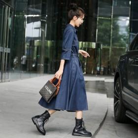 欧洲站姿依阁2021年秋装新款法式复古牛仔连衣裙