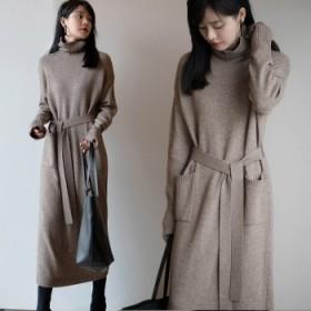 高领纯色毛衣裙子女针织连衣裙秋冬中长款韩版显瘦气质