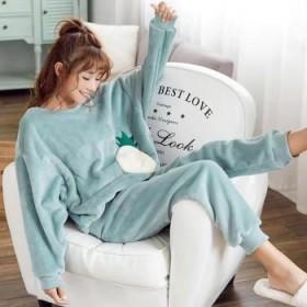 法兰绒睡衣女冬季加厚