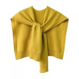 韩版坎肩春秋冬季短款针织小披肩女保暖围巾外搭毛线假