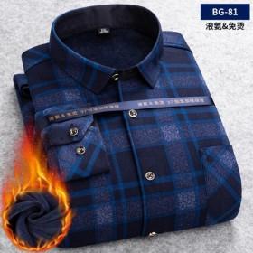 保暖衬衫男加绒加厚宽松条纹外套中老年休闲爸爸装长袖