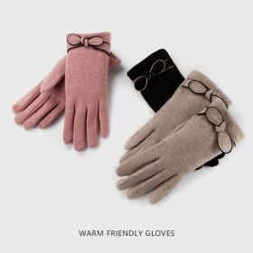 加绒加厚保暖手套女日系优雅蝴蝶结可触屏仿羊绒手套