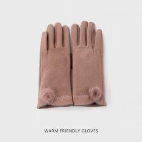 手套女冬季保暖加绒加厚防寒麂皮绒可爱学生触屏手套