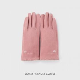手套女秋冬薄款韩版可爱学生加厚加绒保暖骑行开车触屏