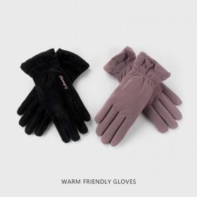 手套女士骑行开车跑步运动加绒加厚触屏时尚可爱甜美
