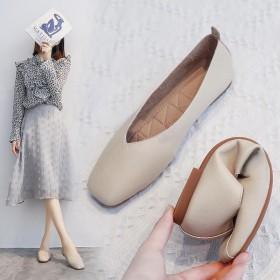 豆豆鞋女秋季瓢鞋平底浅口仙女单鞋晚晚风温柔鞋子