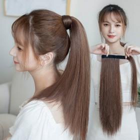 马尾假发女长发魔术贴式直马尾自然无痕仿真发缠绕式