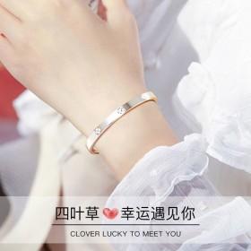 银手镯纯银年轻款学生男女饰品镶嵌手腕韩版大学生手环