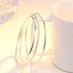 银手镯s999纯银银饰日韩镶嵌光面足银礼物手环现货