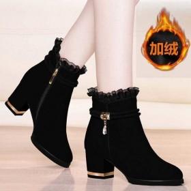 【加绒保暖】短靴女鞋2020新款粗跟