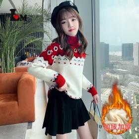 女童加绒花朵高领毛衣保暖长袖套头韩版冬季加厚卡通针