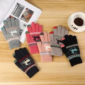 手套女冬季可爱触屏加绒手套女冬厚韩版保暖防护手套女