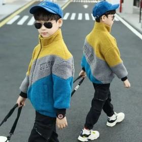 童装男童羊羔绒外套冬装儿童宽松洋气中大童加绒加厚摇