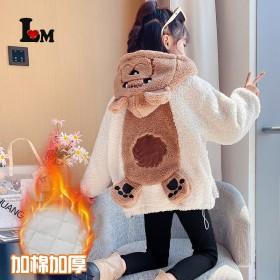 女童后背熊毛毛衣加厚加厚卡通长袖连帽中大童外套羊羔