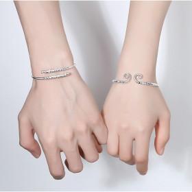 2021新款银手镯纯银礼物情侣镯子女士个性开口简约