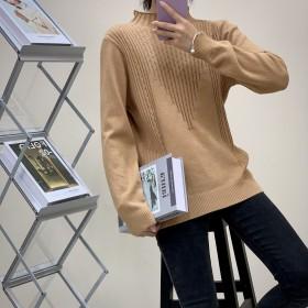 半高领厚毛衣内搭秋冬休闲针织衫慵懒风复古韩版显瘦