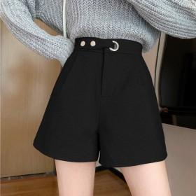 女装高腰小个子西装面料短裤女韩版显瘦阔腿外穿靴裤