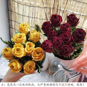 干玫瑰干花花束真花单支玫瑰情人草天然晾干家居装饰摆