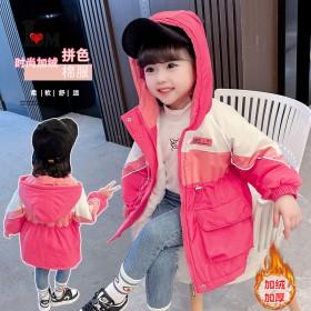 女童三色拼接收腰派克服棉服女宝宝冬季外套中长款棉衣