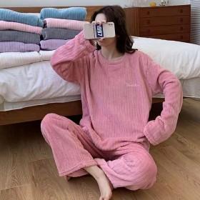 条纹法兰绒睡衣女士睡衣裸睡感家居服套装