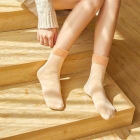 春秋冬韩版袜子休闲舒适柔软日系黑色肤色简约纤维加绒