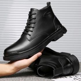 马丁靴男新款百搭工装鞋潮流中帮高帮皮鞋棉鞋