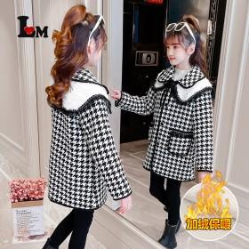 女童羊卷毛领毛呢大衣冬季韩版中长款格子女宝中大童加