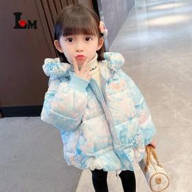 女童炫彩棉衣2021冬季新款加厚小童加绒棉服洋气公