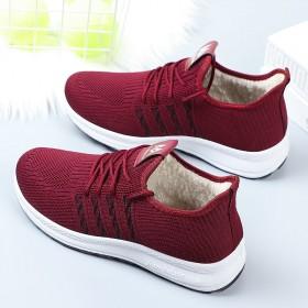 冬季新款女鞋加厚加绒保暖平底鞋
