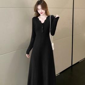 针织衫连衣裙女2021秋冬新款收腰打底中长款成熟女