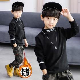 男童加绒打底卫衣韩版保暖百搭时尚加厚中大童小孩衣服