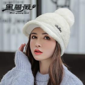 秋冬新款羊羔绒棒球帽女韩国百搭鸭舌帽时尚护耳加绒帽
