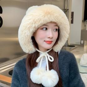 冬季护耳麻花针织帽女百搭毛球毛线帽保暖骑行纯色帽子
