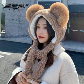 可爱日系大熊熊耳朵羊羔毛帽子女冬百搭保暖加厚套头帽